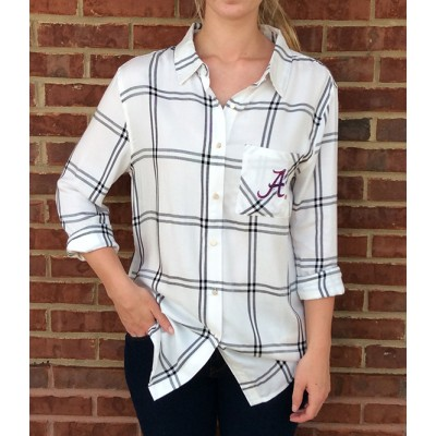 Bama White Plaid Top