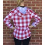 Red Gingham Hooded Top